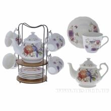 Чайный набор на 6 персон, 14 предметов (чашка с блюдцем 200 мл, чайник 1000 мл, подставка)