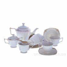 Чайный набор на 6 персон, 15 предметов (чашка с блюдцем 200 мл, чайник 1000 мл,молочник 250 мл, саха