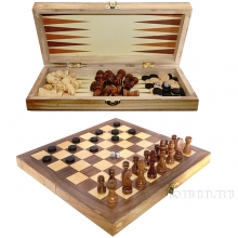 Игра настольная 3 в 1  (шахматы, шашки, нарды), L35 W17 H4,5 см