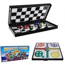 Настольная игра 3 в 1 (шахматы, шашки, лудо (ludo), L24.5 W12.5 H3.5 см