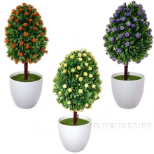 Дерево искусственное Цветы,  L10 W10 H27 см, 3в