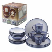 Набор посуды из 16-и предметов: кружки H10.5 L9.2 см, салатники H7.1 L18.5 см, тарелки L 21.3 см, та