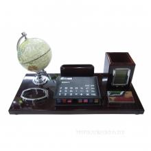 Настольный набор (глобус, визитница, карандашница, калькулятор, часы) L38 W18 H19 см