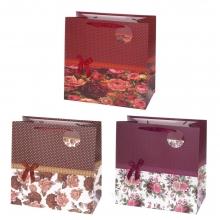 Пакет подарочный, (бумага, плотность 210г/м2, блок из 12-и шт.), L37 W20 H37 см, 3в