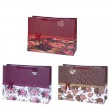 Пакет подарочный, (бумага, плотность 210г/м2, блок из 12-и шт.), L40 W20 H55 см, 3в