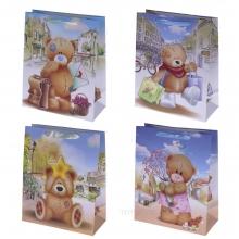 Пакет подарочный (бумага, плотность 210г/м2, блок 12шт), L26 W12 H32 см, 4в